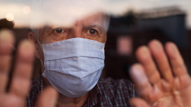 Elderly,Caucasian,Man,Wearing,Hand,Made,Protective,Face,Mask,in,Nursing